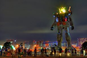 Gundam Statue At Night